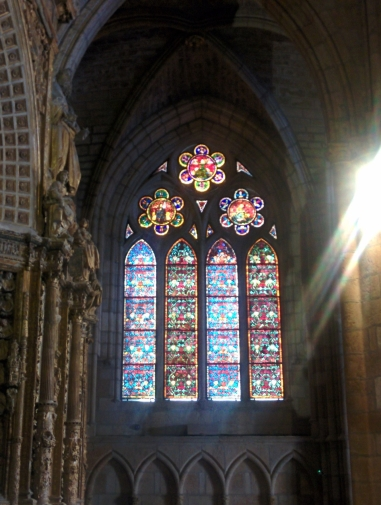 A stained glass window in Leon's famous gothic cathedral